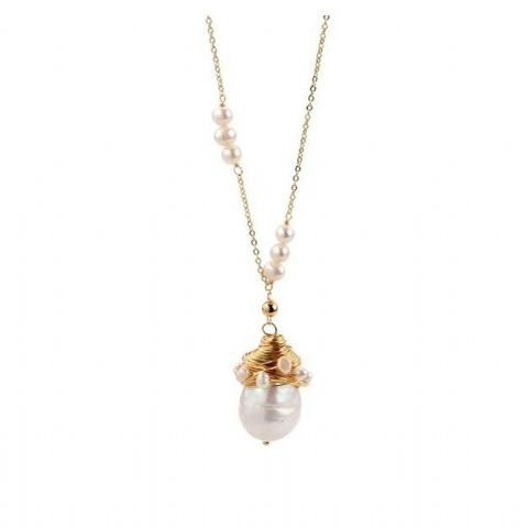Single Pearl Pendant Necklace Baroque Pearl with Seed Pearls